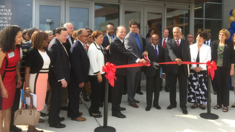 Current and former city, county and state leaders joined in a ribbon cutting ceremony for the Route 9 Library and Innovation Center (Zoë Read/WHYY)