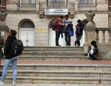 Students gather outside Masterman high school in Philadelphia.