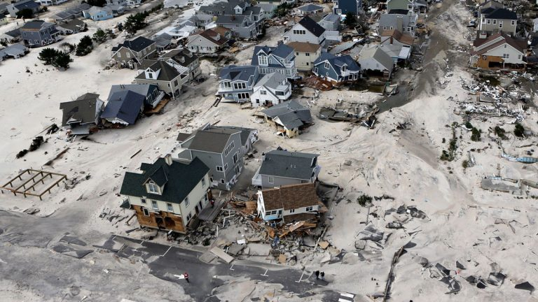 This aerial photo shows the destroyed homes left in the wake of Superstorm Sandy on Wednesday, Oct. 31, 2012, in Ortley Beach, N.J.  (Mike Groll/AP Photo)