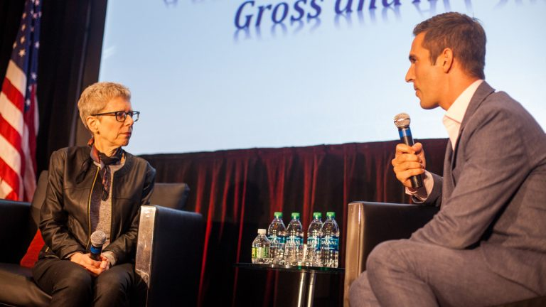 Terry Gross, host of NPR's Fresh Air, is interviewed by Ari Shapiro of NPR's All Things Considered at The National Lesbian and Gay Journalists Association's annual conference. (Brad Larrison for NewsWorks)