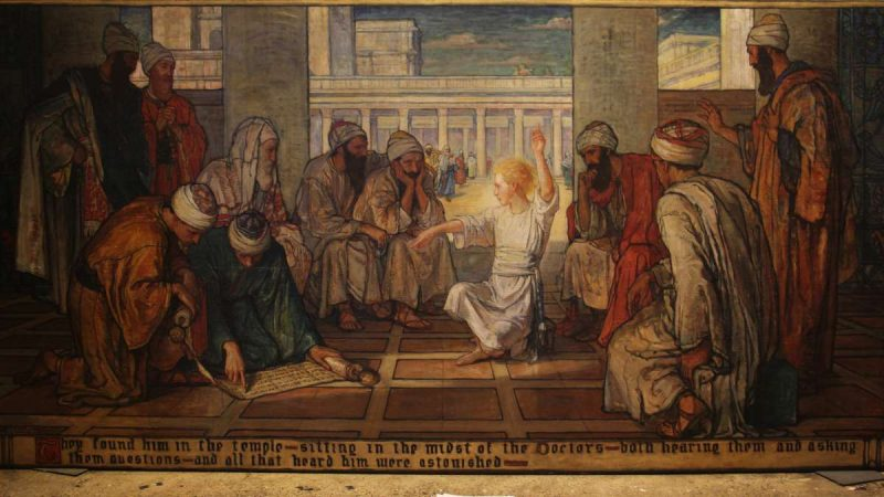 Violet Oakley's mural depicting young Jesus teaching in the temple was commissioned to inspire the students at Chestnut Hill Academy. (Emma Lee/WHYY)