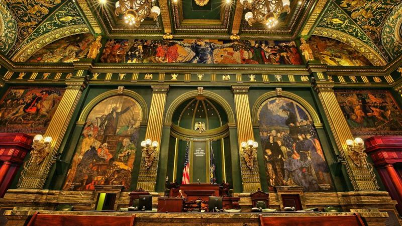 Although they're a hundred miles away, the murals in the Senate Chamber of the Pennsylvania Capitol in Harrisburg are a significant part of the new Violet Oakley exhibit at the Woodmere Art Museum. (Woodmere Art Museum)