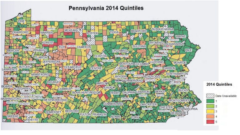 The Pennsylvania Economy League ranked municipalities according to their tax base (high is good) and tax burden (low is good), then combined scores and used the resulting list to divide them into quintiles. Quintile 1 indicates a larger tax base and lower tax burden per household; 5 indicates the least tax base and most tax burden per household. (Source: Pennsylvania Economy League)