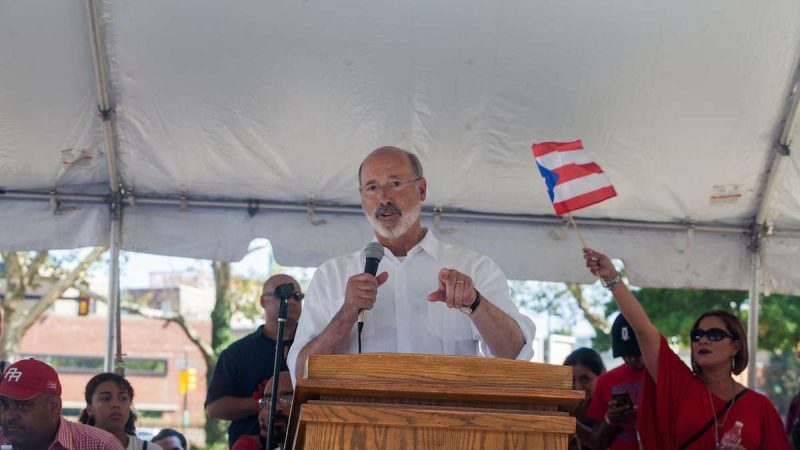 Pennsylvania Governor Tom Wolf speaks at the 2017 Puerto Rican Day Parade, Sunday on the Benjamin Franklin Parkway.