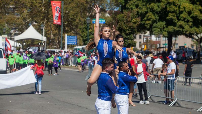 Members of the Asereco Dance Group perform during the 2017 Puerto Rican Day Parade.