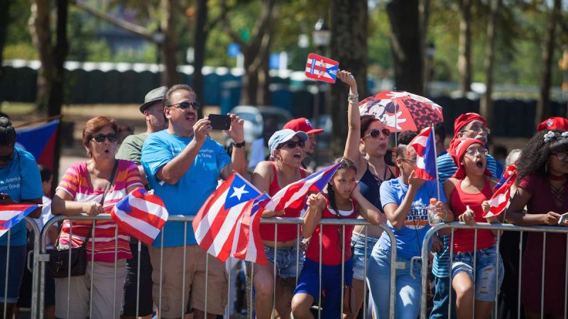 The 2017 Puerto Rican Day Parade on the Benjamin Franklin Parkway celebrates the island's culture and calles for charity to aid in its recovery following the damage caused by Hurricane Maria.