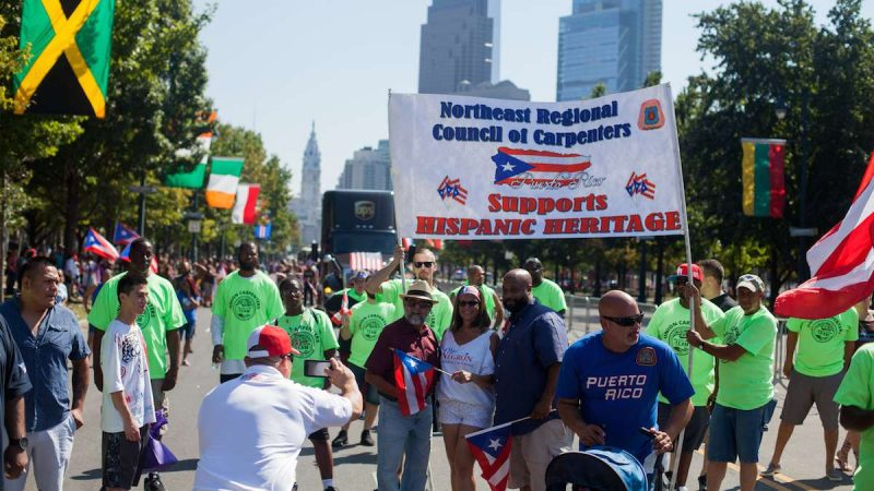 Members of the Northeast Regional Council of Carpenters march in the 2017 Puerto Rican Day Parade.