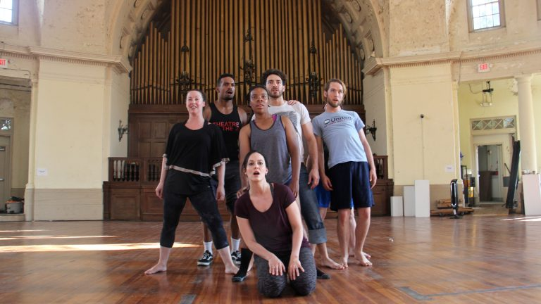 Perfromers from Die Cast rehearse for ''Pericles,'' a Fringe Festival offering at The Rotunda. (Emma Lee/WHYY)