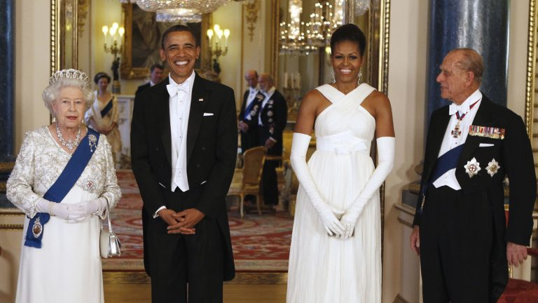 Former President Barack Obama, former first lady Michelle Obama, Queen Elizabeth II, and Prince Philip pose for photographs prior to a May 24, 2011, dinner hosted at Buckingham Palace in London. (Larry Downing/Pool photo via AP, file)