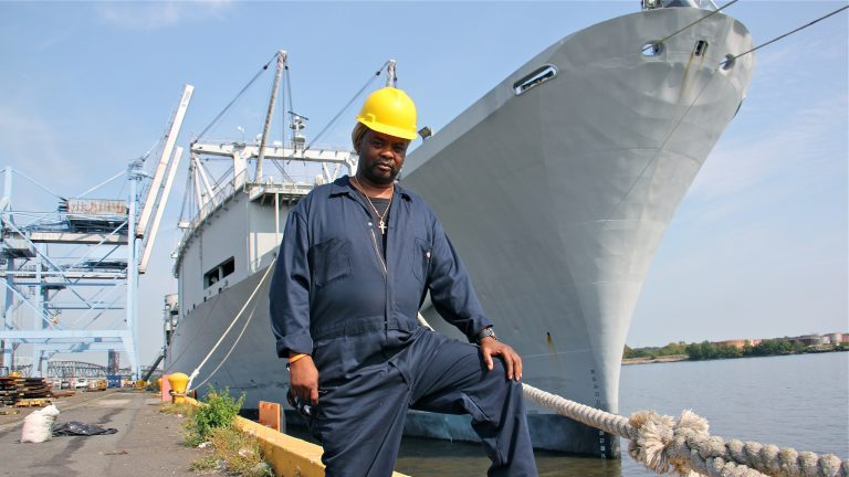 Rodney Roberson will travel to St. Thomas aboard the S.S. Wright, shown here at Tioga Marine Terminal in Philadelphia after it was loaded with disaster relief supplies for the hurricane stricken island.  (Emma Lee/WHYY)