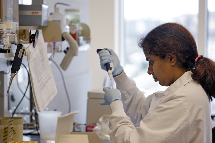In this photo taken March 28, 2017, research technician Ashwini Balakrishnan works in the immunotherapy research lab of Dr. Stanley Riddell at the Fred Hutchinson Cancer Research Center in Seattle. (AP Photo/Elaine Thompson)