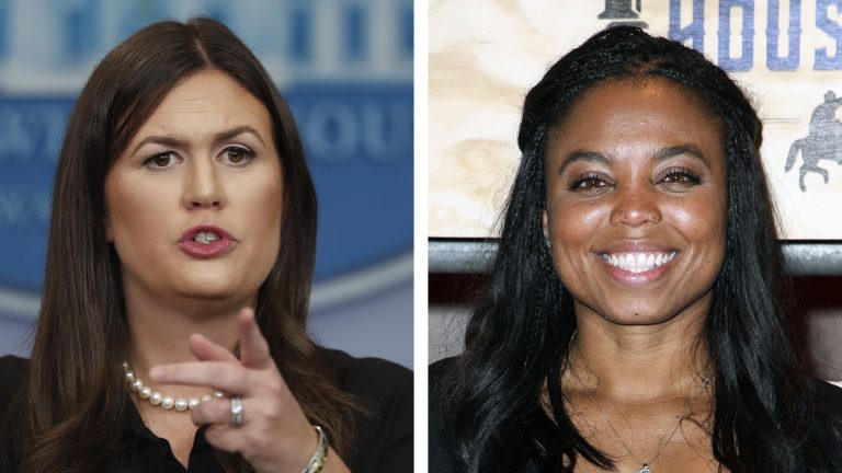 Left; White House press secretary Sarah Huckabee Sanders speaks during a news briefing at the White House, in Washington, Wednesday, Sept. 13, 2017. (AP Photo/Carolyn Kaster, file) Right: Jemele Hill attends ESPN: The Party 2017 held on Friday, Feb. 3, 2017, in Houston, Texas. (Photo by John Salangsang/Invision/AP, file)