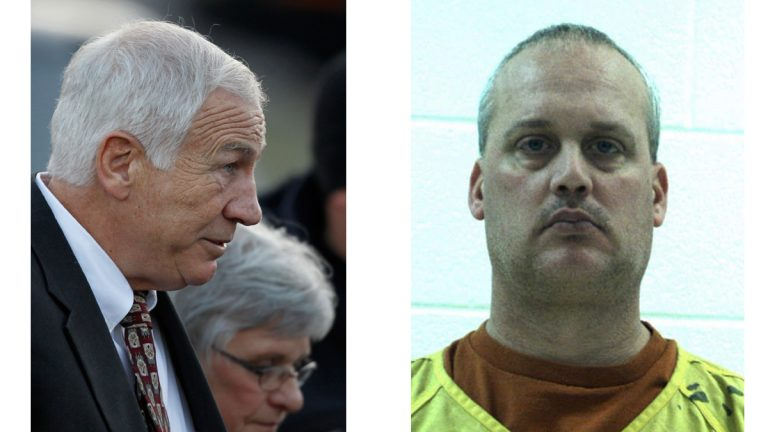 Jerry Sandusky, and his wife, Dottie Sandusky (left), and an undated file photo provided by the Centre County Correctional Facility (right) shows Jeffrey Sandusky, the son of former Penn State University assistant coach Jerry Sandusky, who has pleaded guilty pressuring a teenage girl to send him naked photos and asking her teen sister to give him oral sex. (Matt Rourke and Centre County Correctional Facility/AP, file)