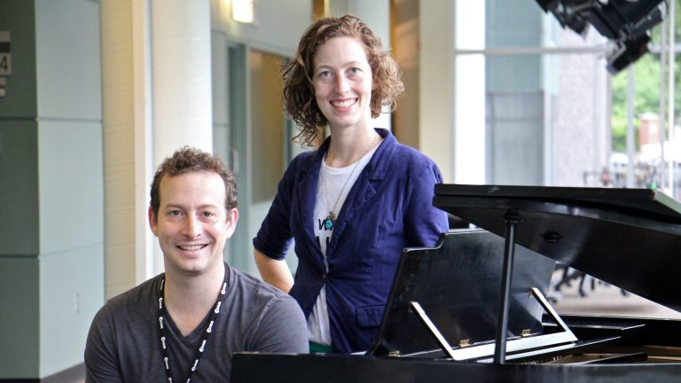 Scott Sheppard and Alice Yorke of Lightning Rod Special theater company are co-creators of ''Unformed Consent,'' a dark comedy about abortion. (Emma Lee/WHYY)