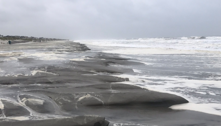 Beach erosion in Stone Harbor. (Photo: Zeke Orzech)