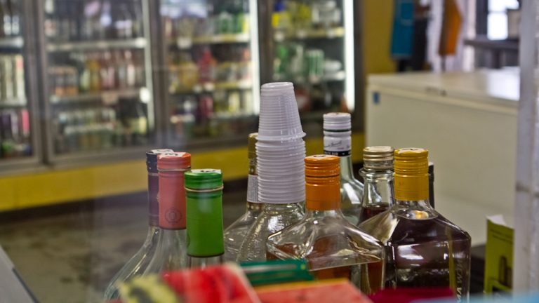 Shots of liquor for sale at a