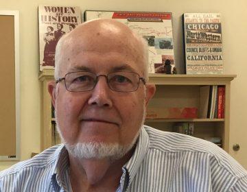 U.S. history teacher Tom English inside his classroom at George School in Bucks County. (Avi Wolfman-Arent/WHYY)