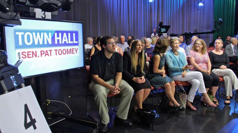 An audience of about 50 people gather for Sen. Pat Toomey's televised town hall at PPL Public Media Center in Bethlehem. (Emma Lee/WHYY)