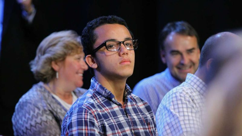 Twenty-year-old community college student Mickey Arce asked Toomey how he planned to make educational opportunities equal for all students, but he was unsatisfied with the senator's answer that school vouchers would achieve that goal. (Emma Lee/WHYY)