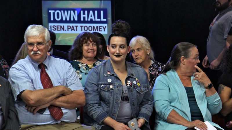 Fifty-four people were invited to Sen. Pat Toomey's town hall in Bethlehem. Twenty-four tickets were split among Republican and Democrat groups in the Lehigh Valley. The remaining 30 were made available to the public on a first-come, first-served basis. (Emma Lee/WHYY)