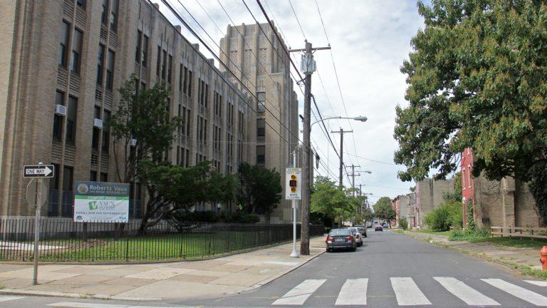Vaux High School in Philadelphia's Sharswood neighborhood is reopening Tuesday. (Emma Lee/WHYY)