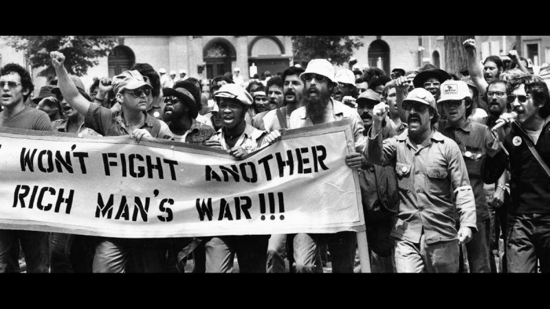 Vietnam Veterans Against the War near the end of their march in the Rich Off Our Backs Coalition parade through North Philadelphia and Kensington on July 4, 1976. (Joseph McLaughlin / Courtesy of George D. McDowell Philadelphia Evening Bulletin Collection, Temple University Libraries)
