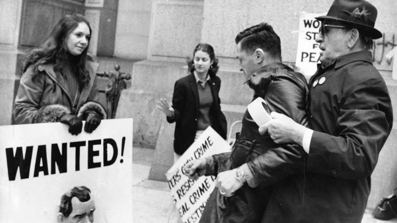 Julius Stuck (far right), 80, restrains Joseph Demers after he ripped up a sign held by Sandy Kravitz (far left) of Women Strike for Peace during a demonstration for amnesty for resisters to the Vietnam War at City Hall on August 4, 1974. (Jack Tinney / Courtesy of George D. McDowell Philadelphia Evening Bulletin Collection, Temple University Libraries)