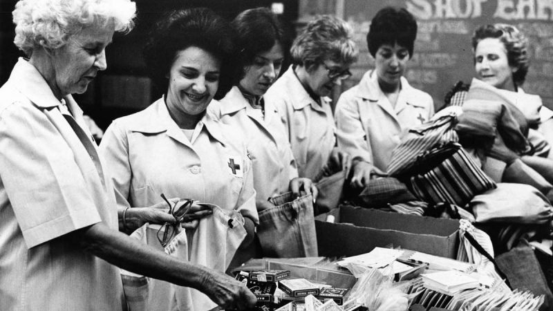 Red Cross volunteers are shown on Aug. 24, 1970, from left: Mrs. J. Milton Neale, chairwoman of volunteer supporting services, of Radnor, Pa.; Rosita Bolognina of Turnersville, N.J.; Erika Kancs of Philadelphia; Mrs. Rose Raymond of Philadelphia; Mrs. Rosemary R. Leyland of East Falls; and Mrs. Elizabeth Van Keuren, director of of volunteer supporting services. (Joseph Tritsch / Courtesy of George D. McDowell Philadelphia Evening Bulletin Collection, Temple University Libraries)