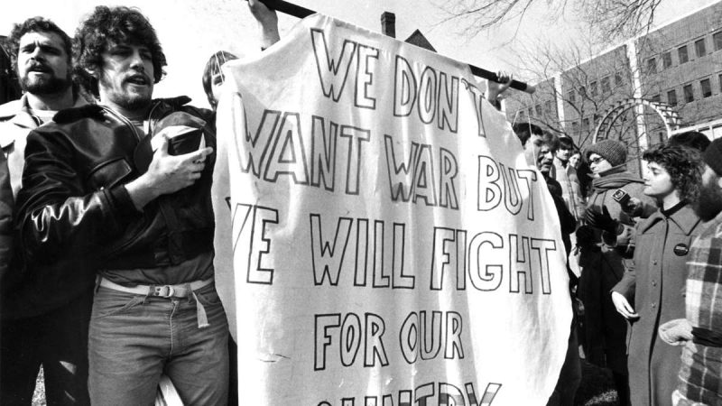 A group of University of Pennsylvania students show support for the draft on Feb. 11, 1980. (Courtesy of George D. McDowell Philadelphia Evening Bulletin Collection, Temple University Libraries)