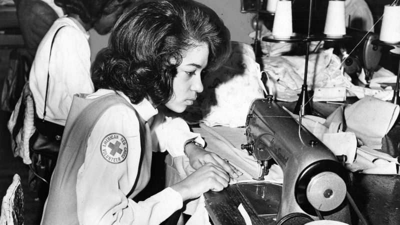 Diann Diggs, a senior at William Penn High School, stitches a blanket during her power sewing machine class for South Vietnamese children in hospitals and Red Cross refugee centers, on Feb. 26, 1968. (Fred A. Meyer / Courtesy of George D. McDowell Philadelphia Evening Bulletin Collection, Temple University Libraries)