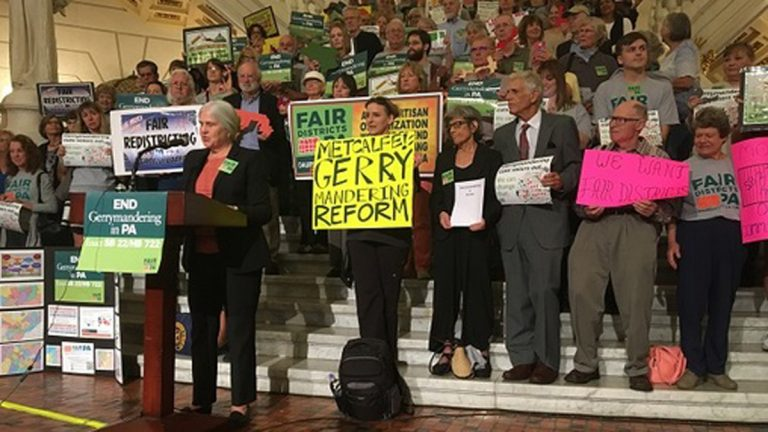 Protesters call on lawmakers to support redistricting reform. (Katie Meyer/WITF)