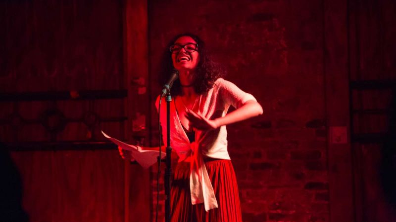 Poet Becca Khail performs at the first YallaPunk Festival in Philadelphia. (Emily Cohen for WHYY)
