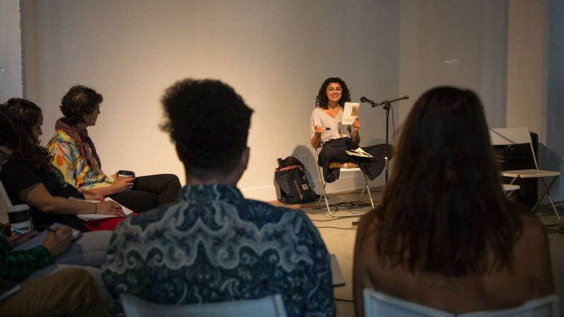 Poet Maryan Nagy leads a workshop on house and home during YallaPunk 2017. (Emily Cohen for WHYY)