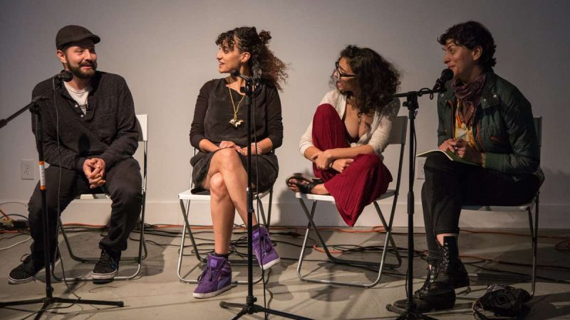 Panelists (from left) Marwan Kamel, Rana Fayez, Becca Khalil, and another speaker talk about how to sincerely market yourself as a MENA artist at YallaPunk 2017. (Emily Cohen for WHYY)