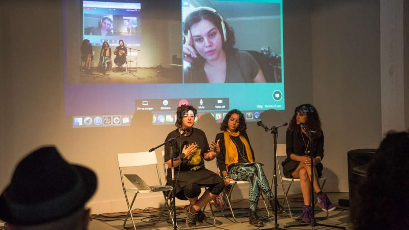 ''The Essential Feminist'' panel skypes in Miriam Hakim after Hurricane Harvey blocked her from leaving Houston to attend the panel at YallaPunk. (Emily Cohen for WHYY)