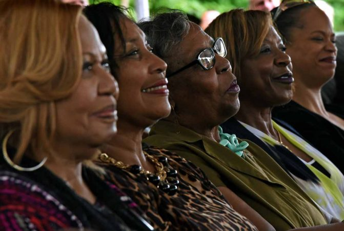 Attendees listen to speakers at the September 2016 press conference to announce the preservation of the Martin Luther King, Jr. house at 753 Walnut Street in Camden.  (April Saul/for WHYY)