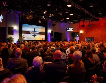 WHYY's Lincoln Financial Digital Studio is filled on Oct. 12, 2017, for a public discussion with Lynn Novick, director of PBS'