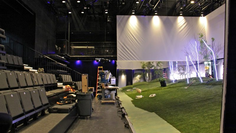 The new black box theater at the Lewis Center for the Arts is a flexible space with LED lighting. (Emma Lee/WHYY)