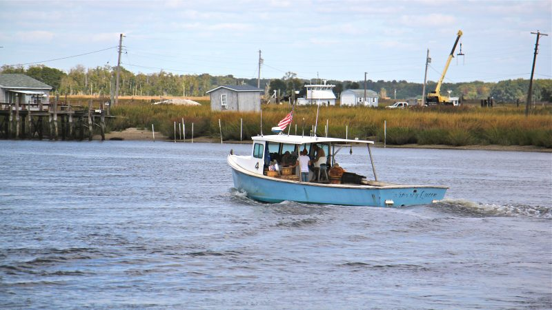 A fishing boat sets out from Money Island.