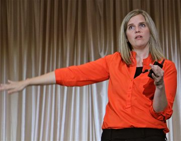 Alissa Parker, whose daughter Emilie died in the shooting at Sandy Hook Elementary School, talks about ways to improve school safety during a conference in Drexel Hill. (Emma Lee/WHYY)