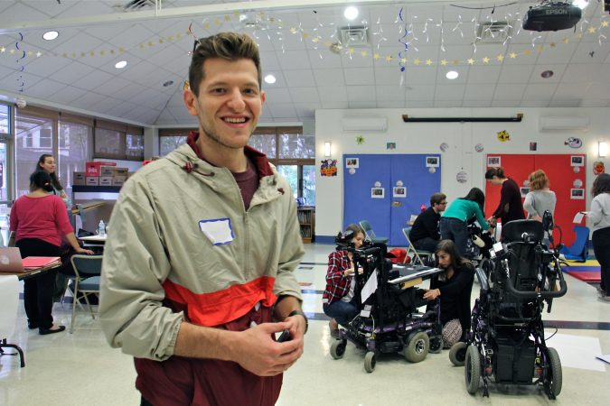 Russell Goldstein, of Adaptive Design of Greater Philadelphia, accompanies Temple students to the HMS School for Children with Cerebral Palsy