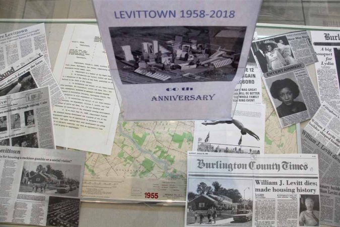 A display at the Willingboro Public Library looks to thje 60th anniversary of New Jersey's Levittown. (Emma Lee/WHYY)