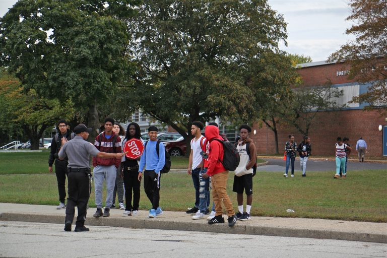Students leave Burlington City High School at the end of the school day.