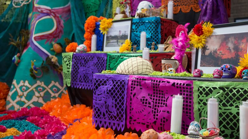 a day of the dead altar is decorated with skeletons, photos, candles and brightly colored paper flowers