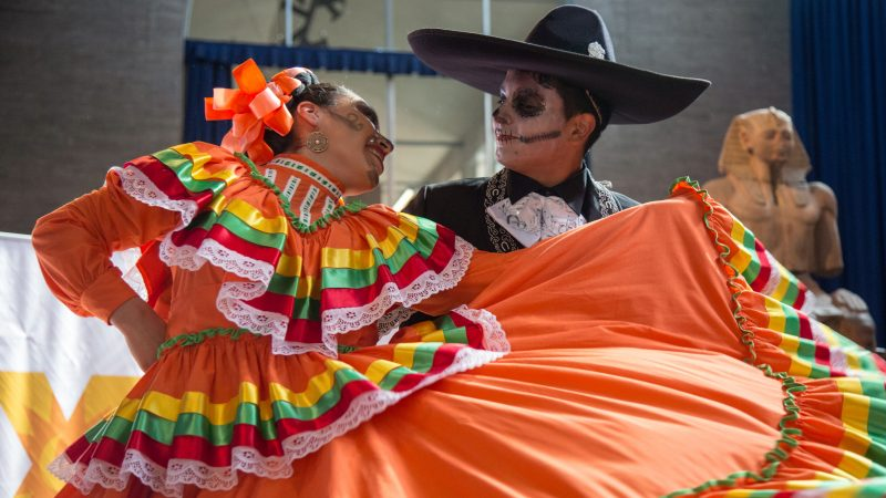 Dancers from Ballet Folklorico Yaretzi perform traditional Mexican folk dances at Penn Museum's annual Day of the Dead celebration