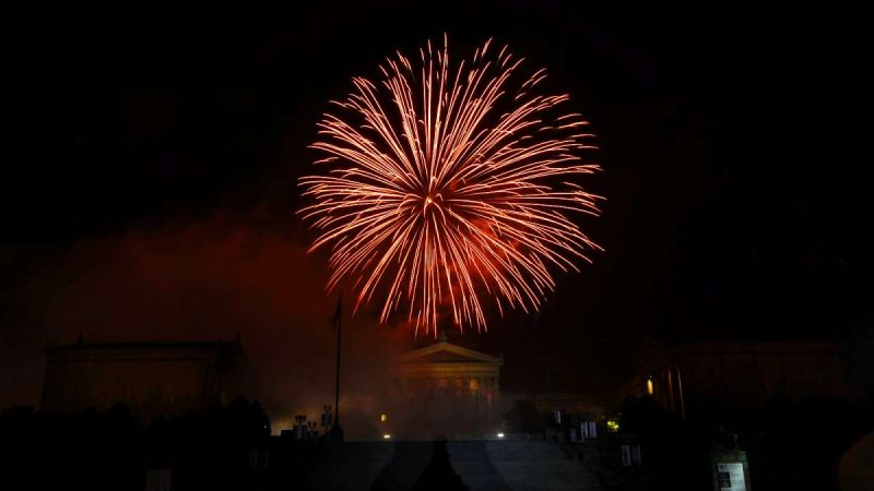 The Wawa Welcome America July Fourth concert on the Benjamin Franklin Parkway closes with a fireworks display.