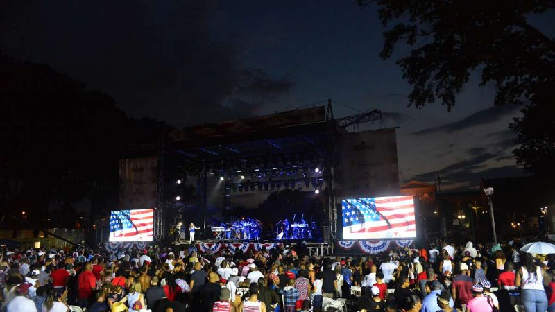 Under the clearing skies, Mary J. Blige takes the stage at the Welcome America concert on the Parkway.