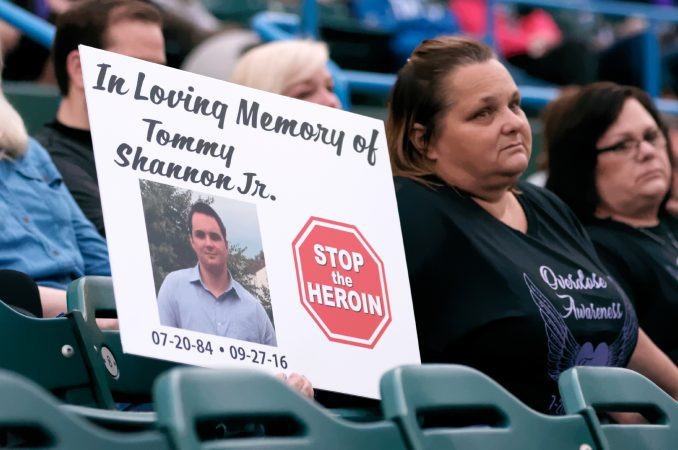 Overdose victims are remembered during the Regional Candlelight Vigil on October 14, 2017, at Camden Waterfront Stadium. (Bastiaan Slabbers for WHYY)