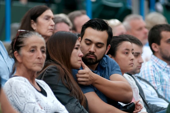Overdose victims are remembered during the Regional Candlelight Vigil on October 14, 2017, at Camden Waterfront Stadium.