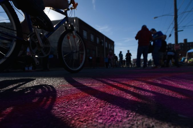 Cyclists and pedestrians take part in Philly Free Streets event, Saturday, Oct. 28, 2017. This year the event connects the Historic Old City District with The Barrio in North Philadelphia. (Bastiaan Slabbers for WHYY)
